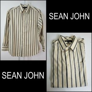 Sean John Men's Long Sleeve Stripe Dress Shirt XL